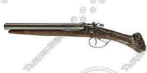 double-barreled gun 3d model
