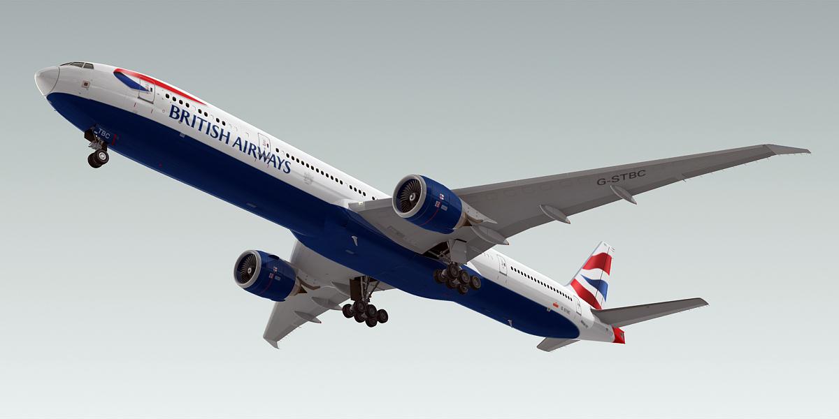 boeing 777-300 plane british airways 3d model