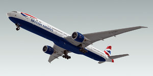 boeing 777-300 plane british airways 3d model