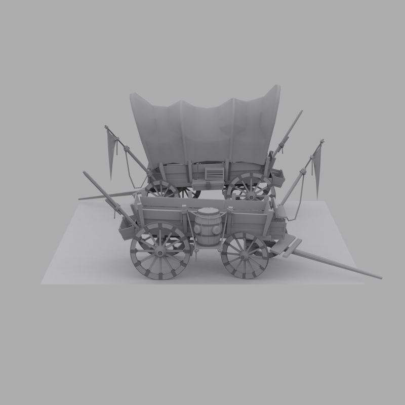 cartoon wagon cart 3d fbx