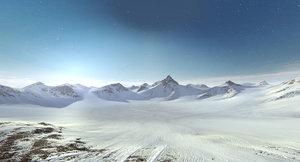 mountain range snow terrain landscape 3d model