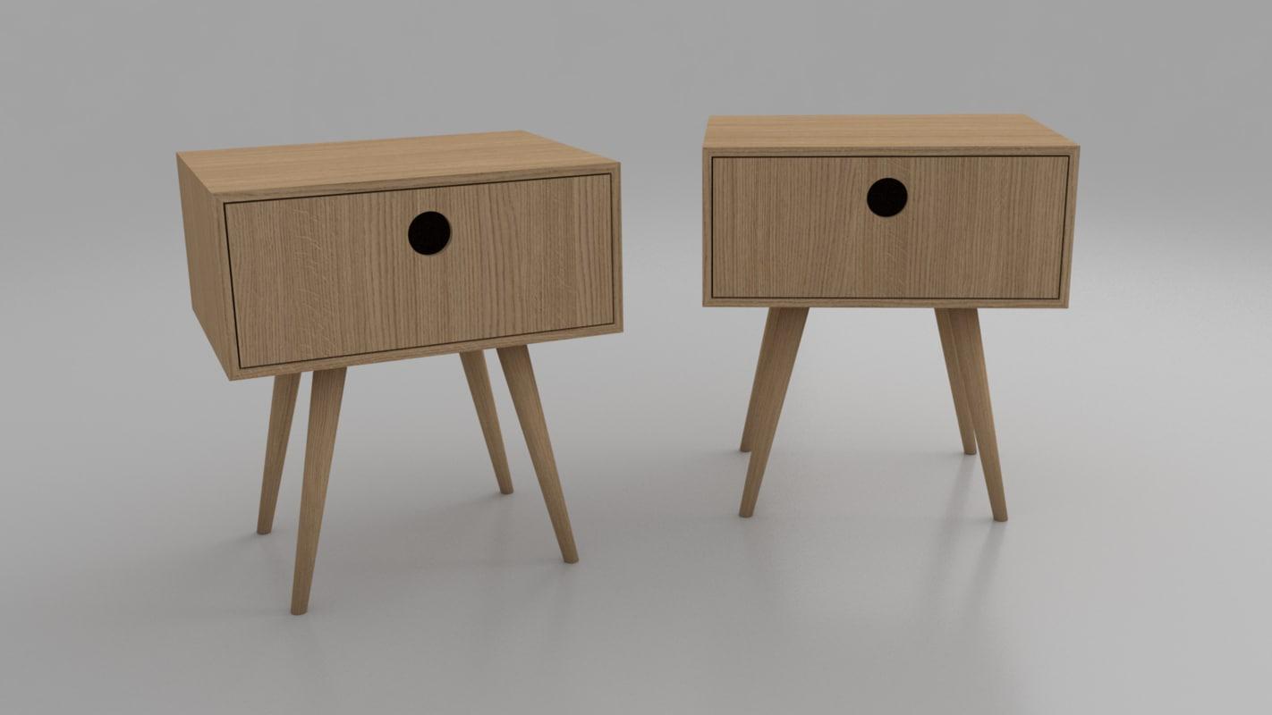 midcentury nightstand 3d model