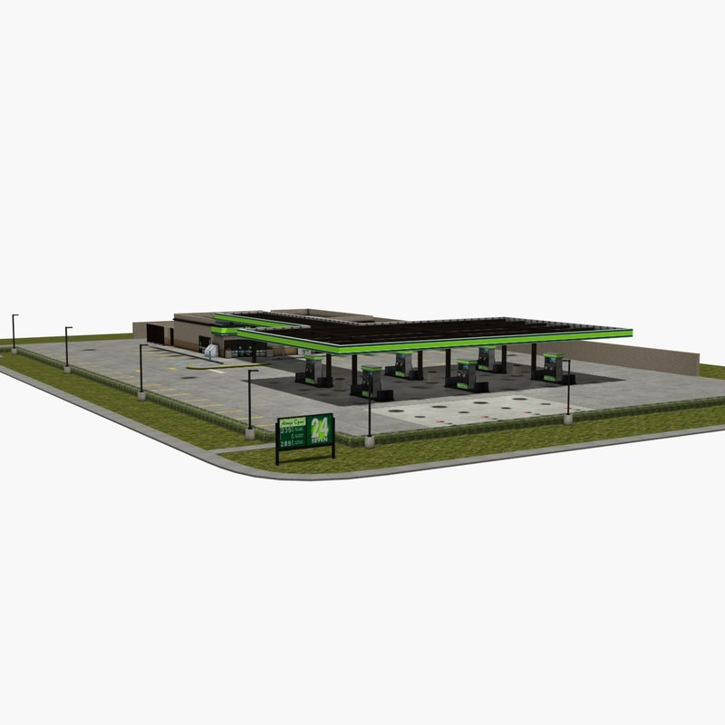 3d model gas station convenience store