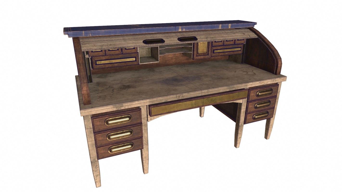 3d model antique desk