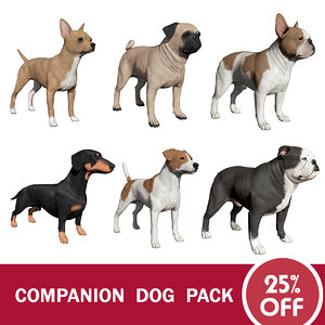 3d model companion dog pack