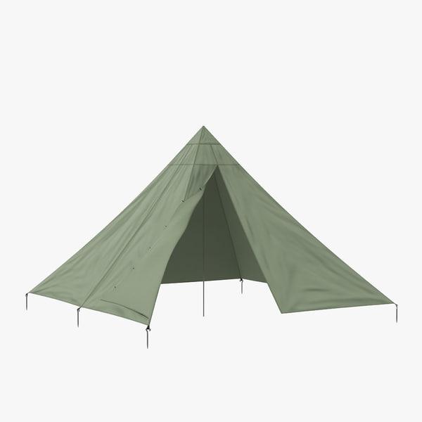 3d max floorless camping tent open