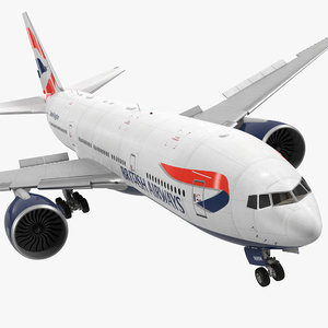 3d model of boeing british airways rigged