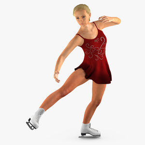3d max female figure skater dancing