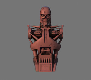 terminator t-800 torso bust obj