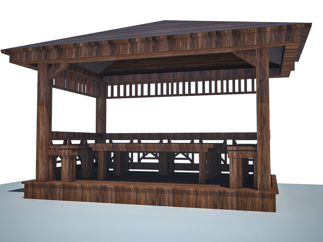 3d model pergola garden