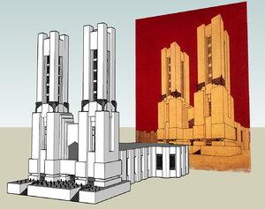 3d futurism cathedral mario chiattone model