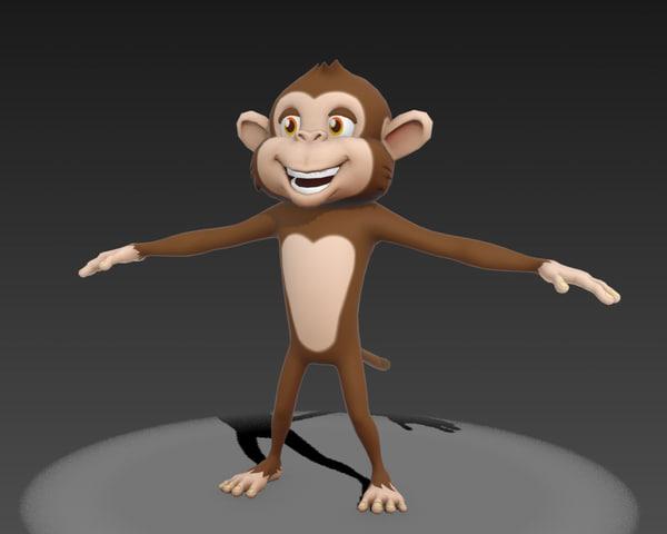 cartoon monkey 3d obj