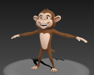 cartoon monkey 3d obj