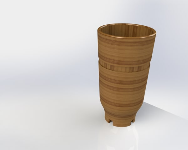 3d solidworks wooden drink glass model