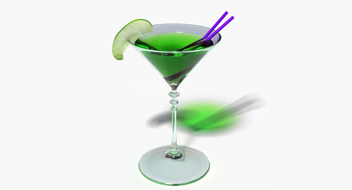 appletini cocktail 3d model