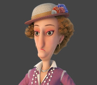 3d obj cartoon lady woman character