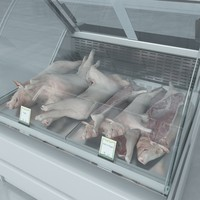 3d model custom refrigerated showcase pork