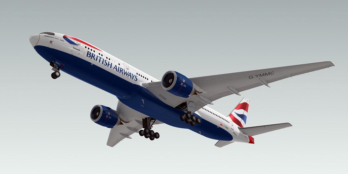 3d boeing 777-200 plane british airways model