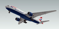 3d boeing 777-200 plane british airways model