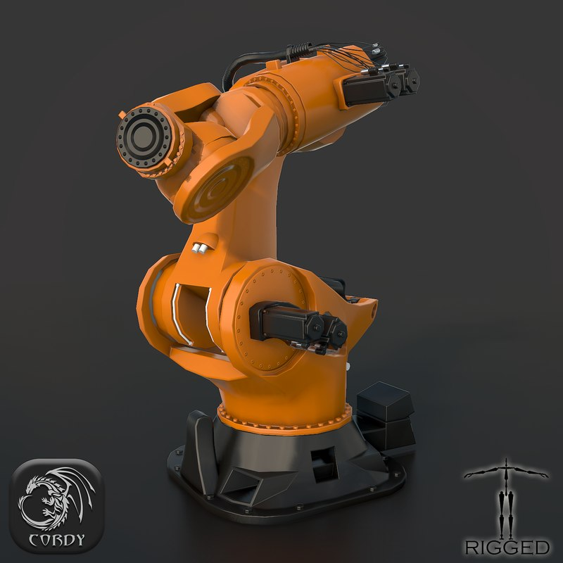 rigged industrial robot kuka 3d max