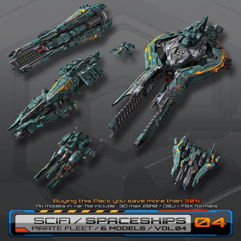 3d max 6 spaceships