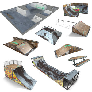 skate park pack pbr 3d model