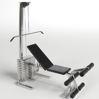 3d model pectoral leg bench gym