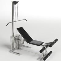 3d model of pectoral leg bench gym