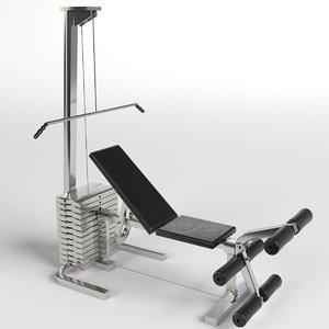 3d model pectoral leg bench gym