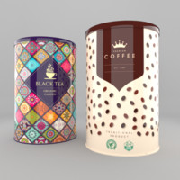 3d coffee tea cans