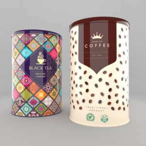 3d coffee tea cans