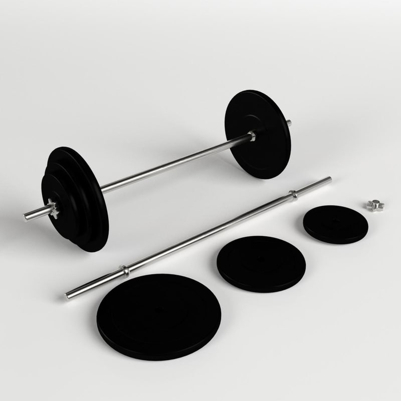 3d plates bar weight set model