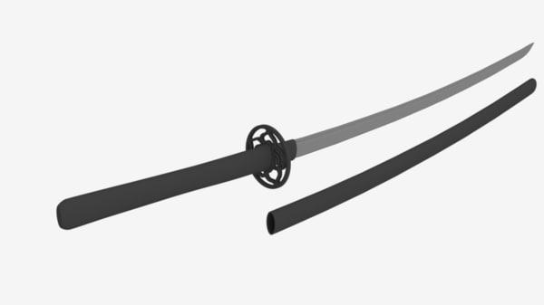 free japanese sword katana 3d model