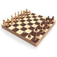 3d modeled wobble chess set model