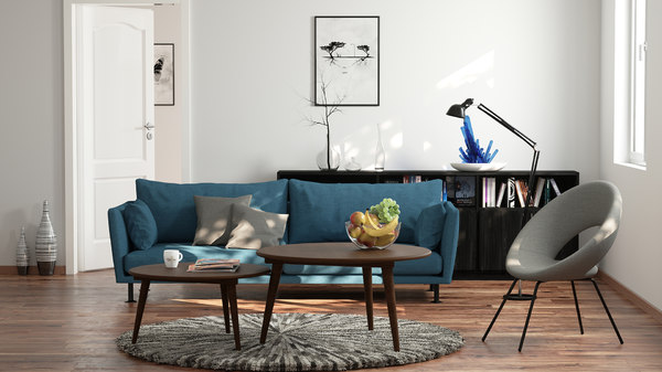 3d render scene living room
