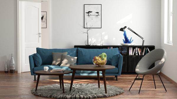 3d render scene living room