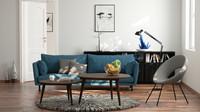 Living room for Octane render 3dsmax