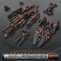 3d 6 spaceships low-res model