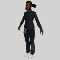 black young man character 3d obj