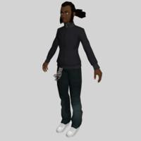 black young man character 3d obj