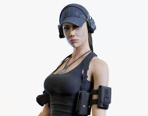army girl 3d obj