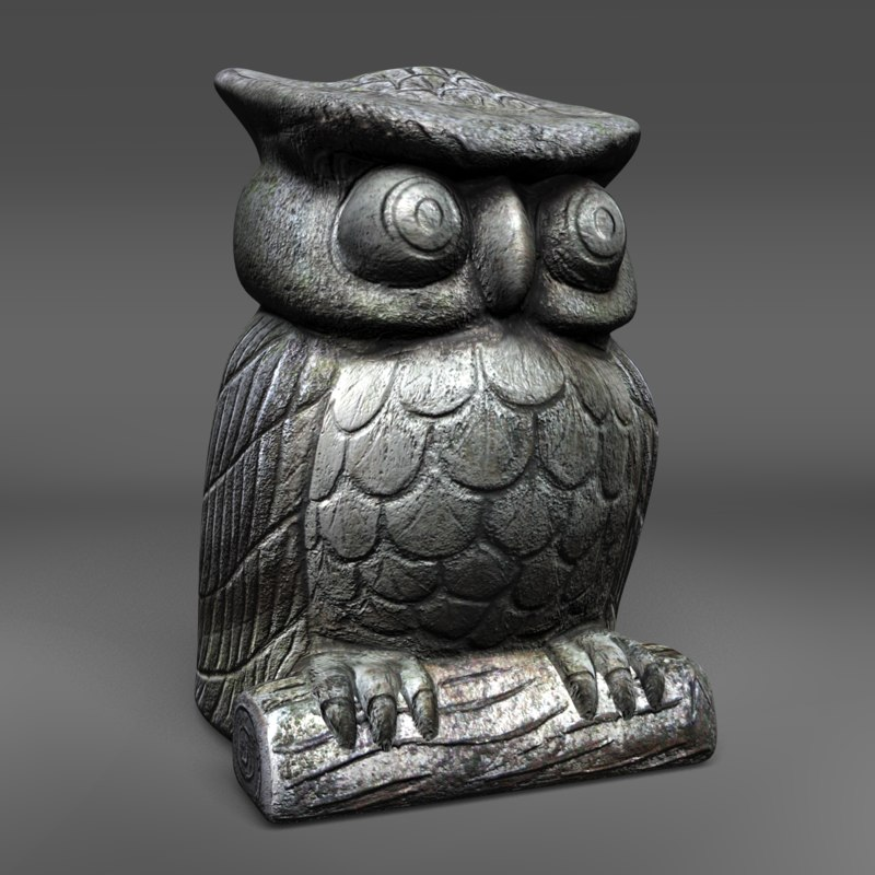 owl sculpture 3d model