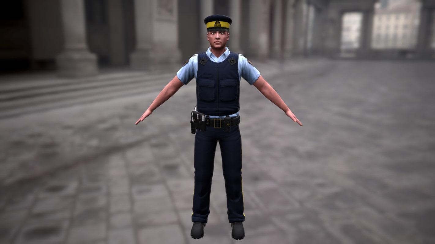 3d obj royal police officer
