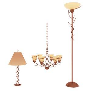 3d model of bronze lighting pack lamp