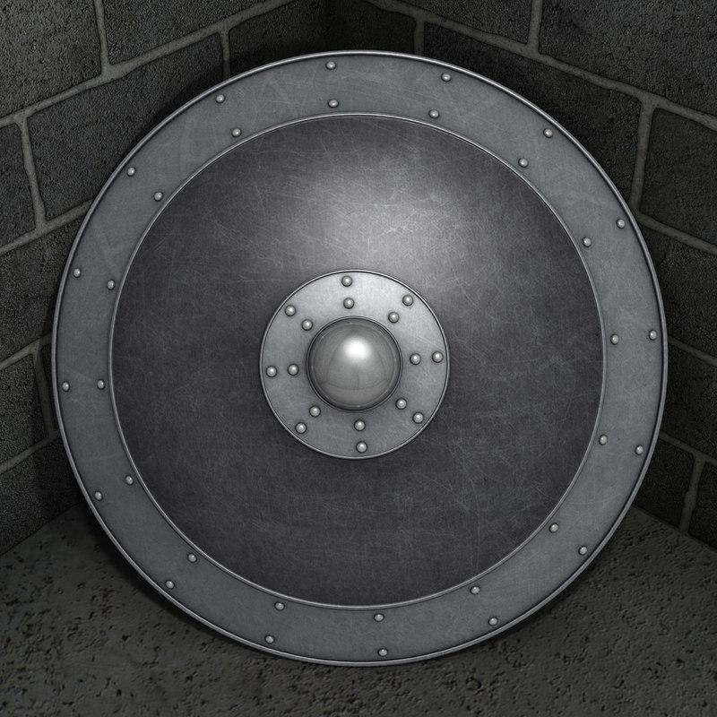 black iron shield 3d obj