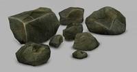 3d stone rock model