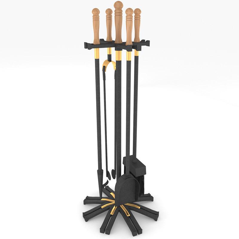 fireplace accessories 3d model