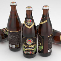 3d beer bottle paulaner dunkel model