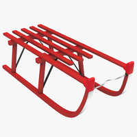 snow wooden sled red 3ds