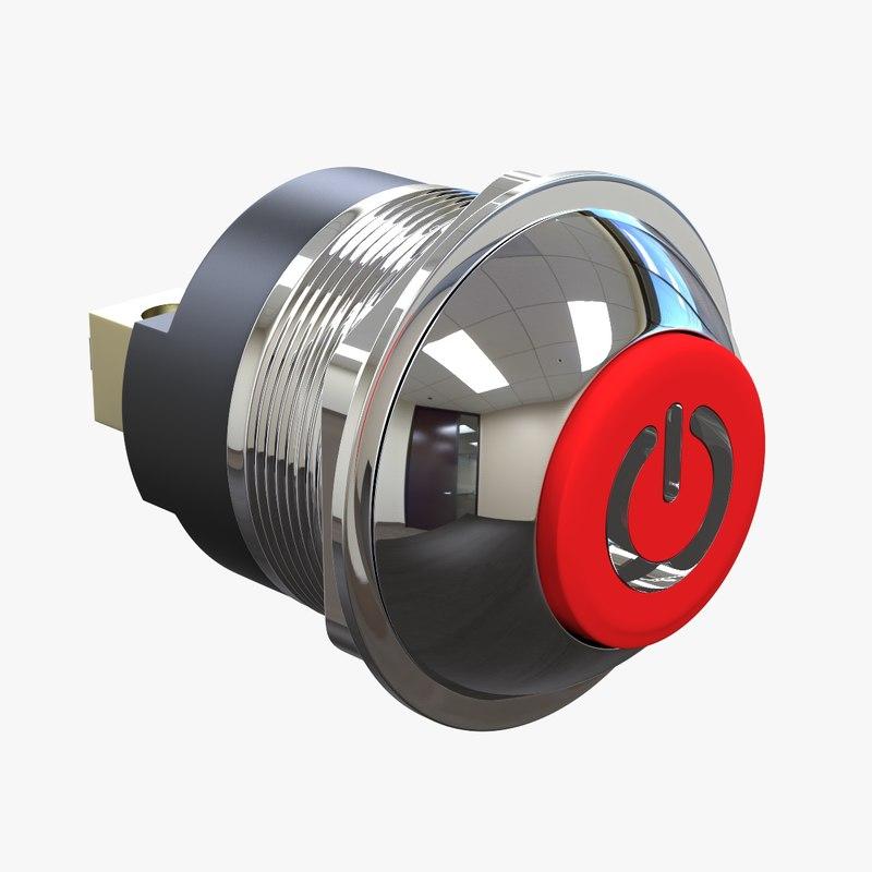 3d obj power push-button -